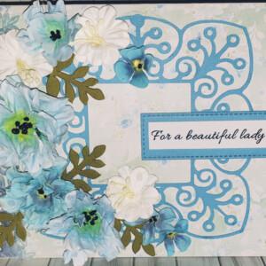 Blue handmade flower greeting card