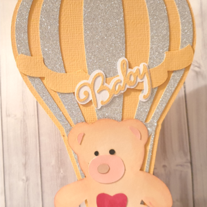 Baby Shower Invite with balloon and teddy bear