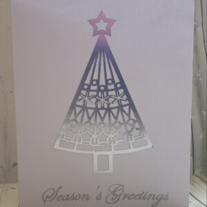 silver foil christmas tree handmade card