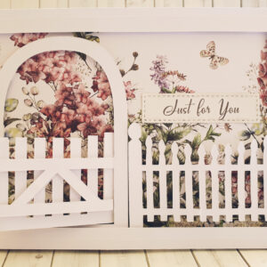 Open gate to garden greeting card