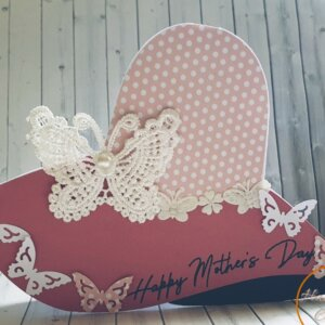 Cloche Hat butterfly mothers day greeting card