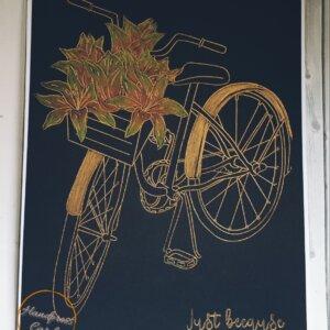 gold bike on black greeting card