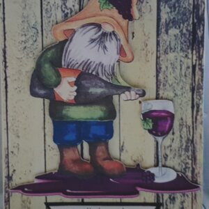 Gnome partner in wine greeting card